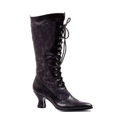 Black Lace Victorian Steampunk Vintage Walking Shoes Granny Boots size 7 8 9 10