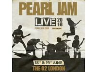 4 x tickets PEARL JAM - 19/06/2018, London, O2 Arena.