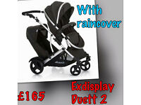 HAUCK DUETT 2 TANDEM PRAM PUSHCHAIR BUGGY - birth to 3. With raincoverS- LESS half price like icandy