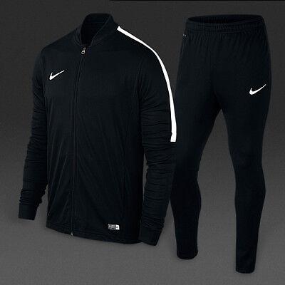 (Nike Boys Kids Junior Football Tracksuit Full Training Tops Bottoms Suit Black)