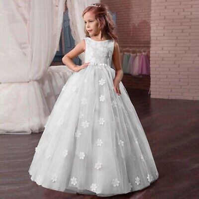 Gowns For Kids (Children Girls Pageant Princess Flower Dress Kids Prom Puffy Ball Gowns)