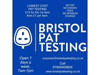 Bristol PAT Testing - £15 for first item £1 thereafter, no VAT, no other charges, no minimum charge.