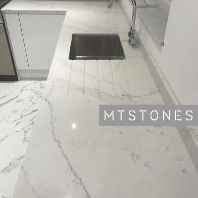 WHITE CALACATTA QUARTZ KITCHEN WORKTOP SAMPLE | ALL COLOURS I AFFORDABLE PRICES