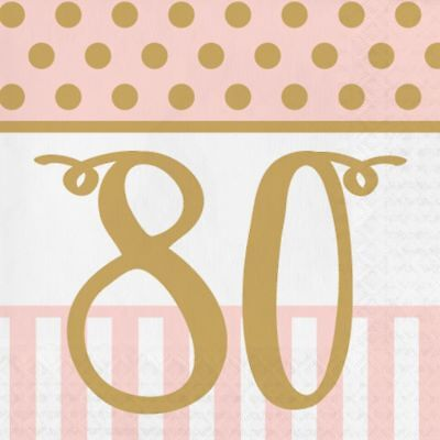 20 x Gold & Pink Chic 80th Napkins Ladies 80 Birthday Party Tableware Supplies ()