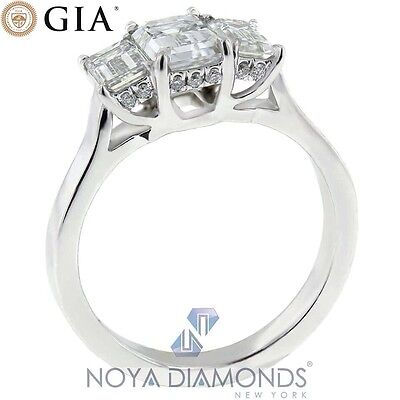 1.87 CARAT G VS1 GIA CERTIFIED EMERALD CUT DIAMOND ENGAGEMENT RING IN PLAT950 1