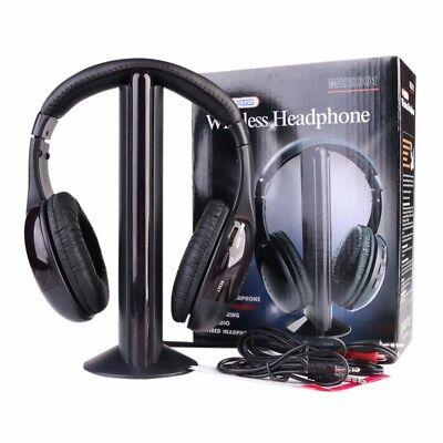 5 In 1 Wireless Cordless FM RF Headphone Headsets Earphones for PC TV Radio Mic
