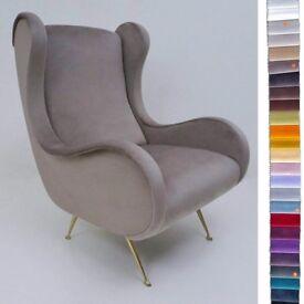 Marco Zanuso lounge chair, 25 colours of velvet, Italian