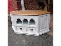 Wooden Shabby Chic Farmhouse/French decor style Corner TV unit.