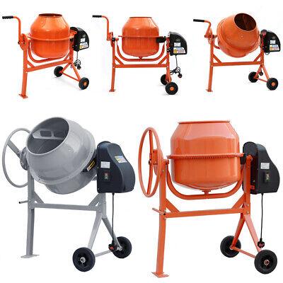 Electric 240V Cement Mixer 63/120/140Litre Concrete Mortar Plaster Mixing Wheels