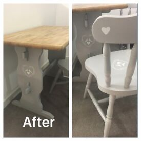 Small shabby chic table and chairs