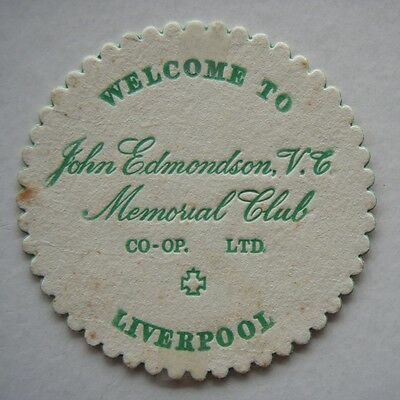 JOHN EDMONDSON V.C. Plaque CLUB CO-OP LTD LIVERPOOL COASTER