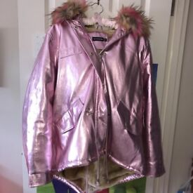 Pink Metallic Faux Fur Hood Coat/Jacket!