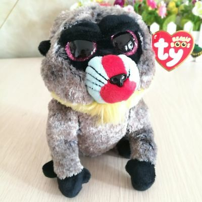 """New Ty Beanie Boos 6"""" Wasabi Grey Baboon Plush Stuffed Animals Toy Gift With tag"""