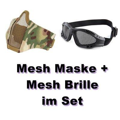 Mesh Maske (Camouflage Camo Airsoft Set Brille Mesh Maske Schutzmaske Softair Paintball)