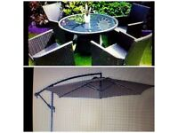 ALL YEAR ROUND quality rattan patio set large table 4 armchairs & FREE NEW CANTILEVER PARASOL
