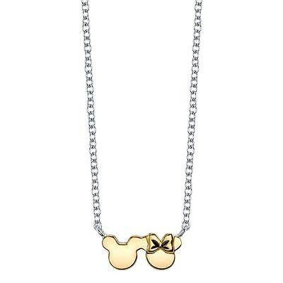 Disney Sterling 10K Vergoldet Halskette Mickey und Minnie Mäuseohren Schleife