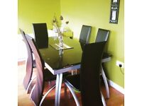 Glass Dinning Table 6 Chairs , Extendable... £90