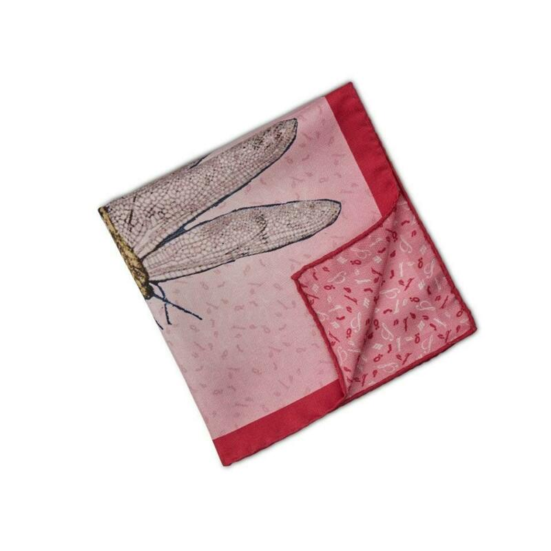 Stenstroms Printed Silk Reversible Pocket Square ~ Made in Italy