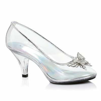 Clear Glass Slippers Cinderella Shoes Wedding Princess Bridal Heels size 8 9 10 - Plastic Glass Slippers