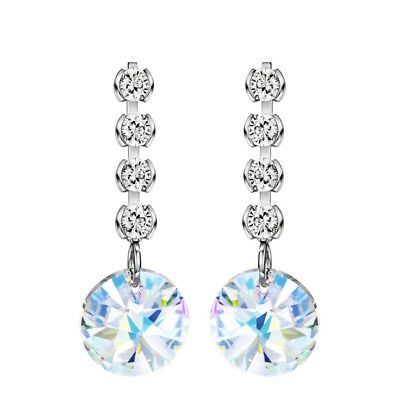 AB Austria Crystal White Zircon Drop Dangle Dainty S925 Silver Plated Earrings