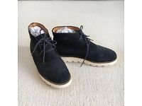 OFFICE Navy Suede Lace-up Ankle Boots