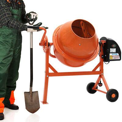 Cement Mixer Electric 220W Mortar Mixing w/ Wheel 63 Litre Concrete Drum Plaster