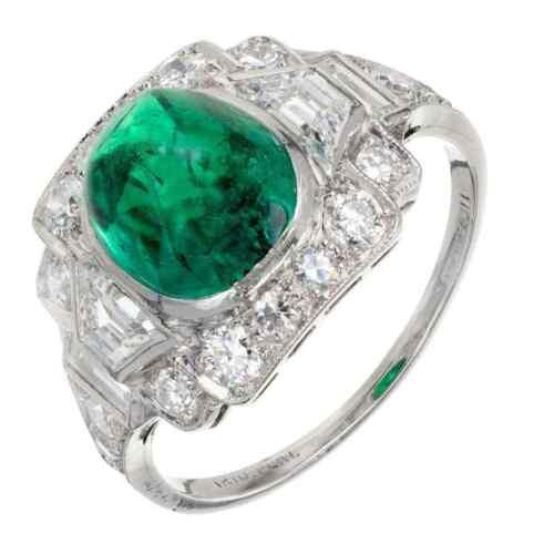 Amazing Vintage Sugar Loaf Cabochon Shape 3.65CT Emerald & White CZ Unique Ring