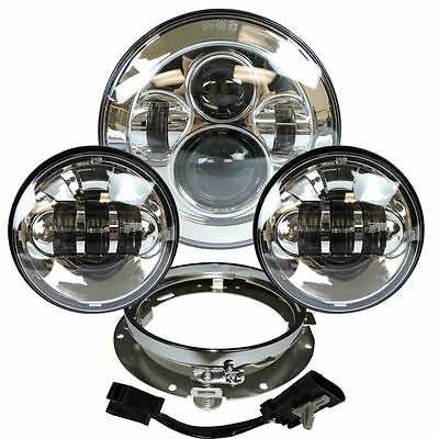 "7"" Projector Daymaker Headlight Passing Lights Mount Ring For Harley Touring Chr"