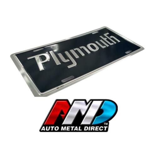 Plymouth Script License Plate 1970s Mopar Black Cuda Roadrunner GTX Duster Scamp