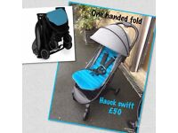 Exdisplay Hauck swift blue grey pram pushchair buggy stroller from birth lightweight and compact