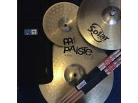 Assorted Drum Cymbals, Sticks & Case (Sabien / Paiste / Meinl / Vic Firth