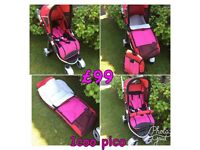 Brand new icoo pram Pushchair stroller pink with cosytoes and bag in pink