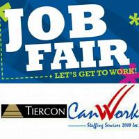 JOB FAIR IN PARTNERSHIP WITH TIERCON!  APPLY TODAY