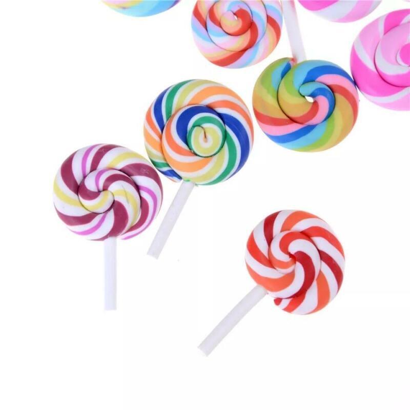 Miniature Fairy Garden Terrarium Resin Lollipop Candy Ornament x 10 pcs
