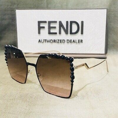 Authentic Fendi FF 0259/S 205 53 Square Sunglasses Black/gold Frame Brown Lens
