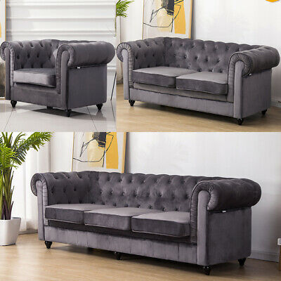 Chesterfield Corner Sofa Velvet Fabric 1+2+3 Seater Armchair Couch Padded - Grey