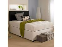 "Kingsize Divan Bed w/ 9"" Deep Quilt Mattress **Headboard Drawers Optional**"