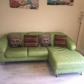Pistachio green couch and swivel chair good condition