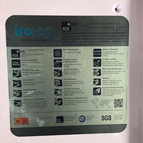"Excellent Heavy Duty - TABLE TOP - ""Isotop Plus"" - 600mm"