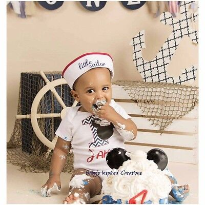 Nautical Personalized Sailor Mickey First Birthday Boys Outfit & Hat 12M 18M 24M (Nautical Birthday Hat)