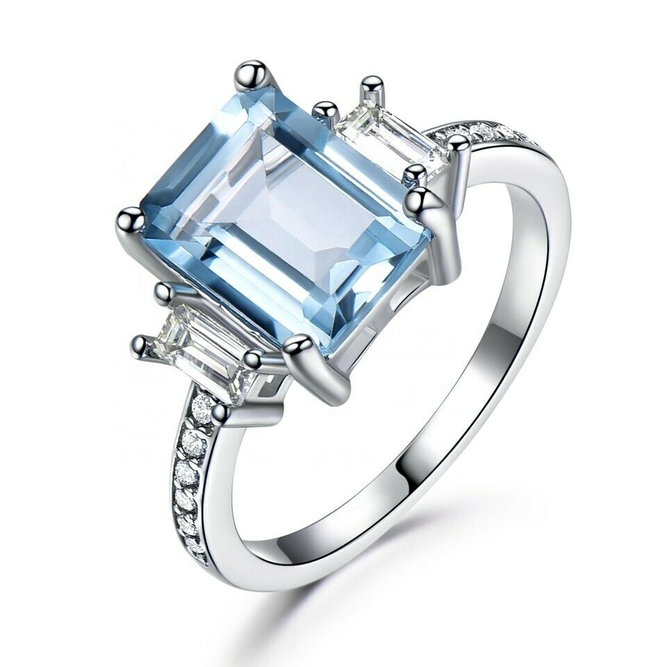 18K White Gold Plated Created Aquamarine Emerald CZ Princess Cut Aqua Elements Fashion Jewelry
