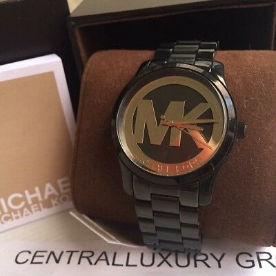 Michael Kors Runway Black and Gold Dial Black Ion-plated Ladies Watch NWT.