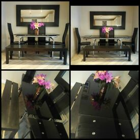 extendable dining table , 4 chairs, bench and mirror