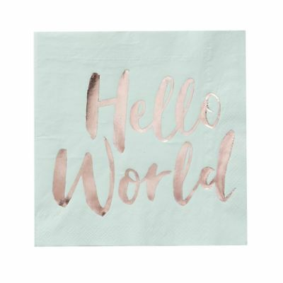 Hello World Mint Green & Rose Gold Paper Napkins Baby Shower - pack of 20