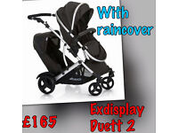 EXDISPLAY HAUCK DUETT 2 TANDEM TWIN DOUBLE BUGGY PRAM PARENT FACING CARRYCOT IN BLACK WITH RAINCOVER
