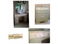 1920s Dresser and tallboy with stool - beautifully hand painted in Farrow & Balls French Grey