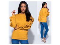 Mustard double ruffle sleeve jumper size 6-14 £10