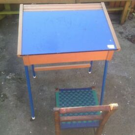 Vintage child's school desk and chair £50