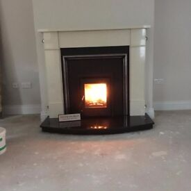 FIREPLACE WITH INSERT BOILER STOVE multi fuel granite hearth marble surround flexi flue liner kit