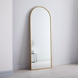 AUTHENTIC WEST ELM METAL FRAME ARCHED WALL / FLOOR MIRROR ANTIQUE BRASS FINISH RRP £499
